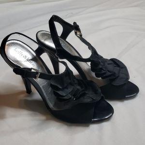 Kelly & Katie Black Ruffle Open Toe Heels